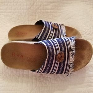 Vintage Bass BoHo fringed striped sandals 8.5